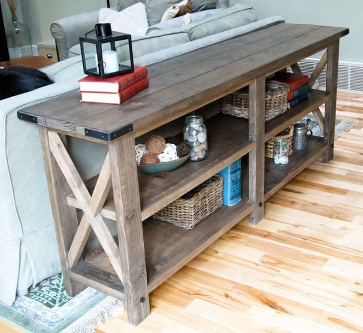 rustic style DIY console table with X details on the side and two shelves