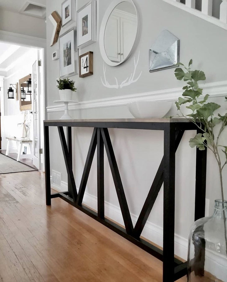 DIY console table with Y style accents and black painted base
