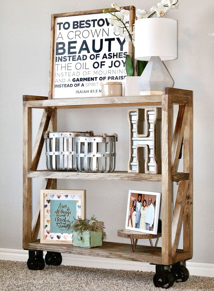 DIY console table with wheels