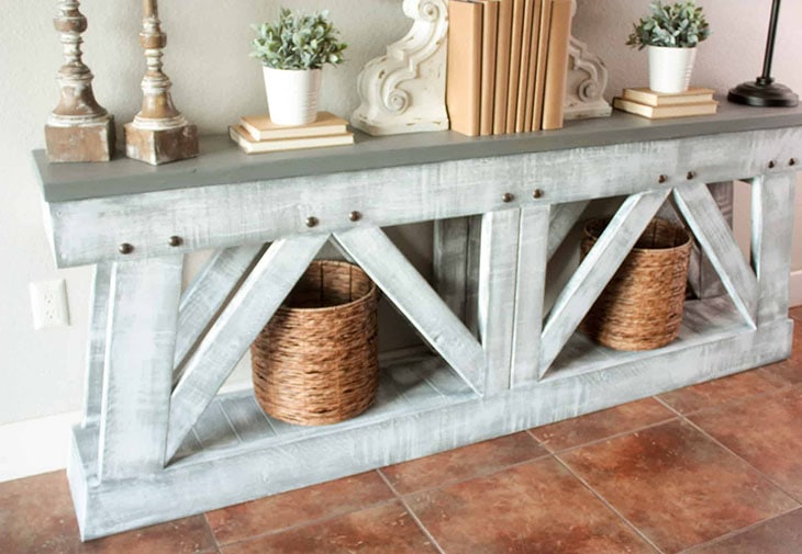 Super slim distressed DIY console table