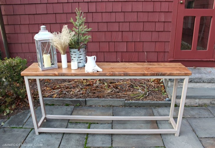 Simple DIY console table with natural wood top and white painted wood frame