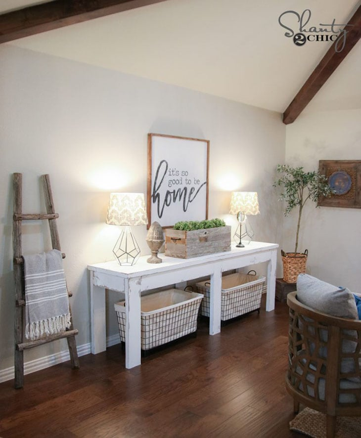White painted farmhouse style DIY console table