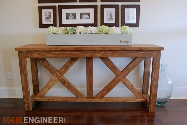 DIY console table with X braces