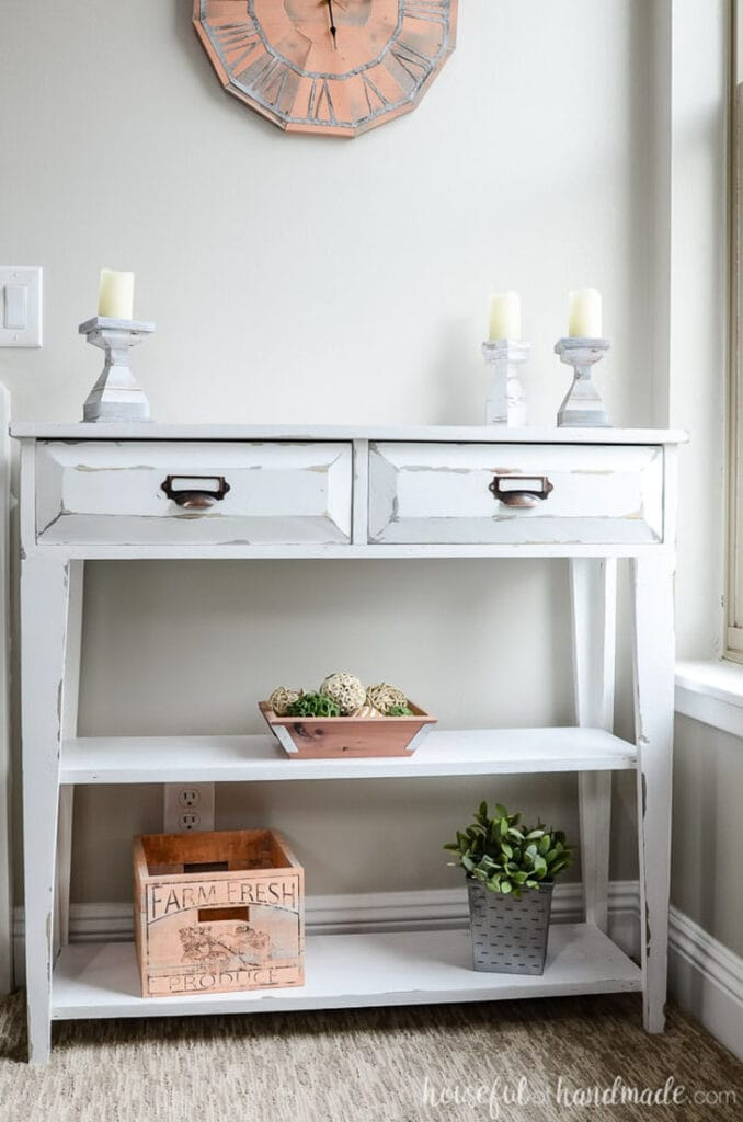 white distressed farmhouse DIY console table with two drawers and a bottom shelf