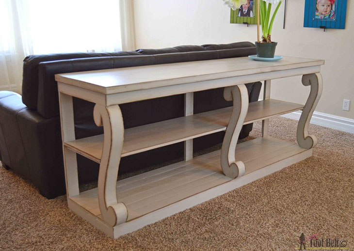 DIY console table with S scroll columns