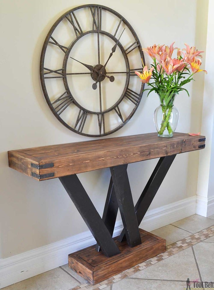 rustic industrial style DIY console table made with 2x4s and metal corner accents