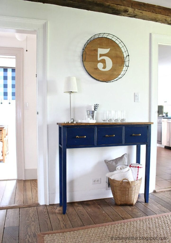Blue painted DIY console table with 3 drawers