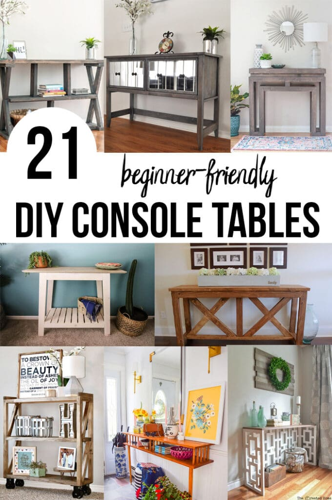 Collage of DIY console table ideas with text overlay.