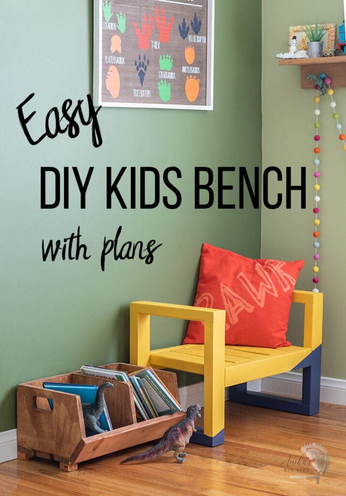 Yellow DIY kids bench in a green kids room with text overlay