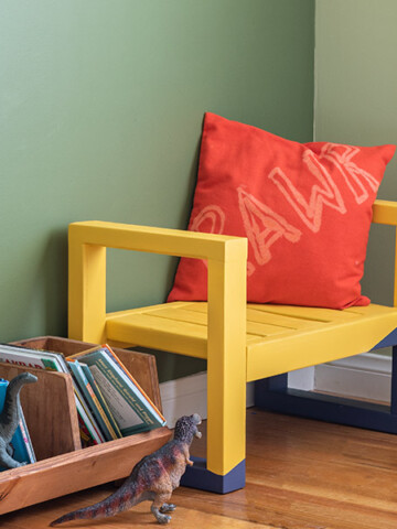 Yellow DIY kids bench in a green kids room
