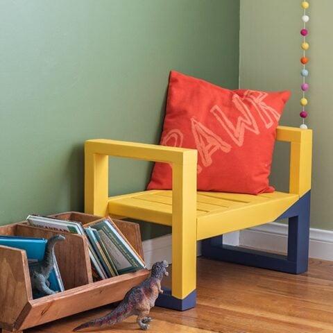 Yellow DIY kids bench in a green kids room