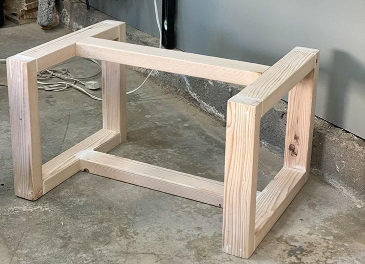 DIY kids bench frame on garage floor