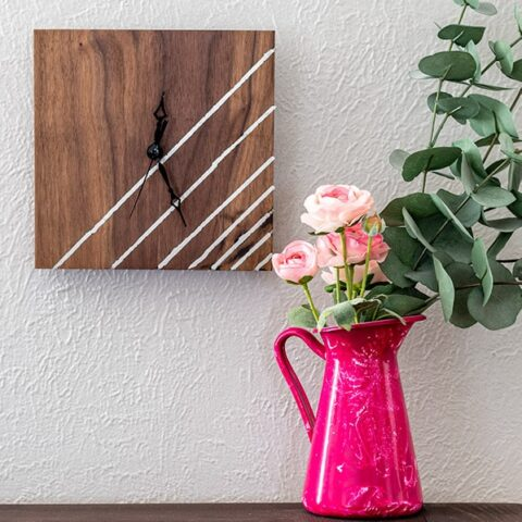 Learn how to make a DIY wooden Clock with a gorgeous metal inlay detail with this easy beginner-friendly step by step tutorial and video.