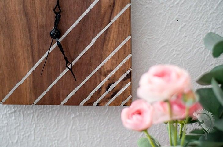 close up of metal inlay of DIY wood clock