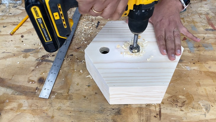 MAking holes in hexagon top for pipe fittings