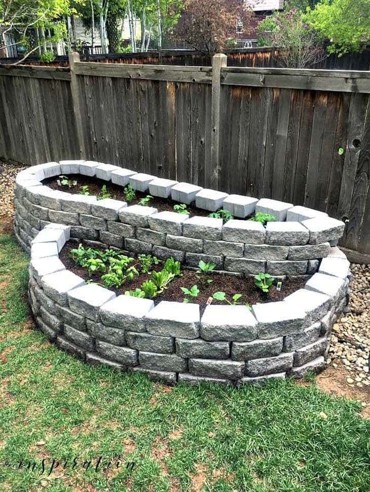 small space garden made from concrete pavers