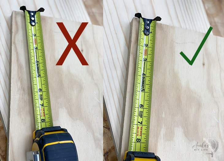 collage showing tape at an angle and straight to get accurate measurements