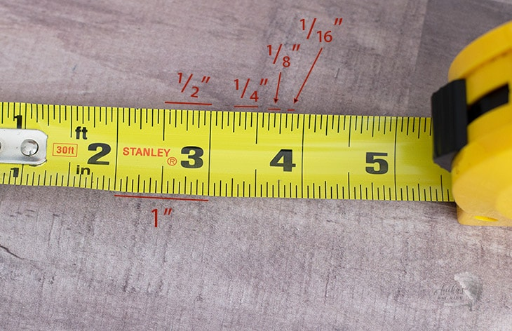 tape measure units and lines marked.