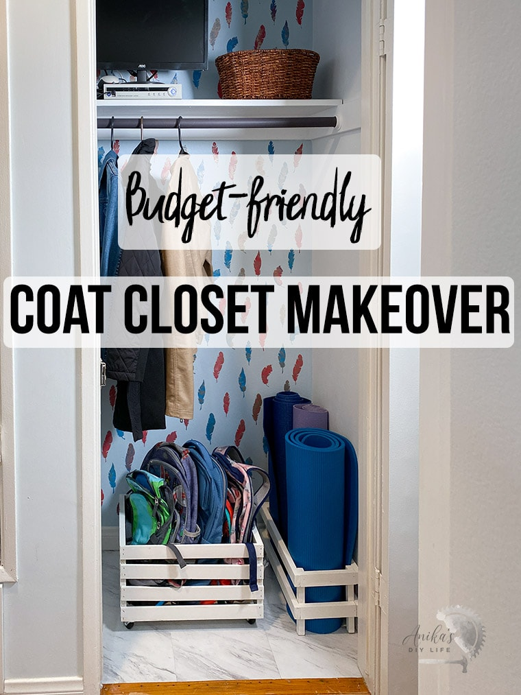 Entryway closet makeover with stenciled wall and organization with text overlay