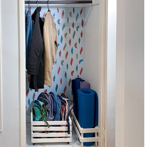 Coat closet after makeover
