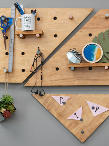 Learn how to make a DIY plywood pegboard and a magnetic board using scrap plywood to create a modern organizer. It is perfect for any room or space!