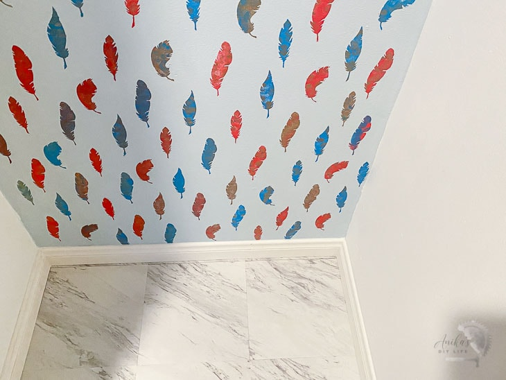 colorful Stenciled wall closet