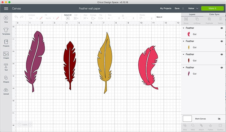 feather designs in Cricut space ready to make stencil