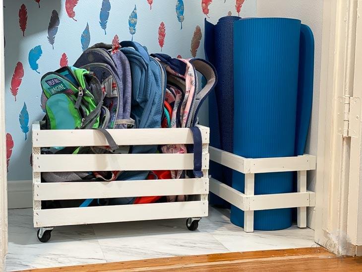 organization at the bottom of a coat closet