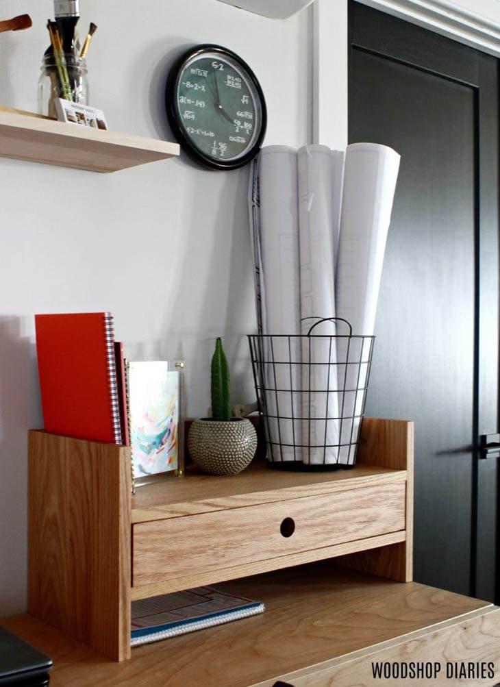 wooden desktop organizer with drawer and shelf