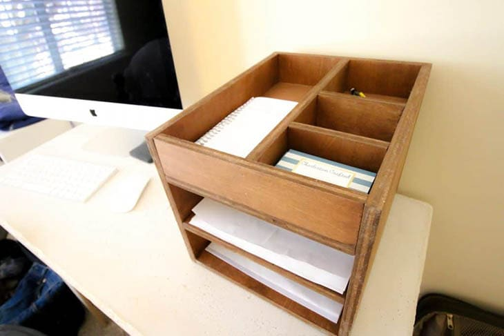 wooden paper tray and supply organizer