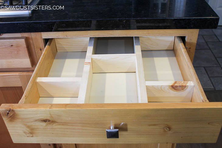 custom built drawer organizer with 6 secitons