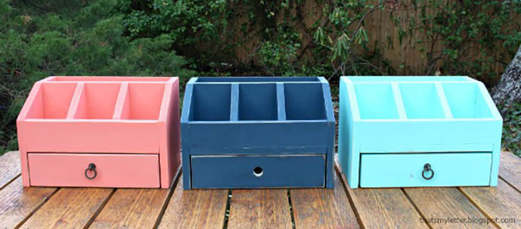 pink, blue, and turquoise desk organizers with drawers and pencil cubbies