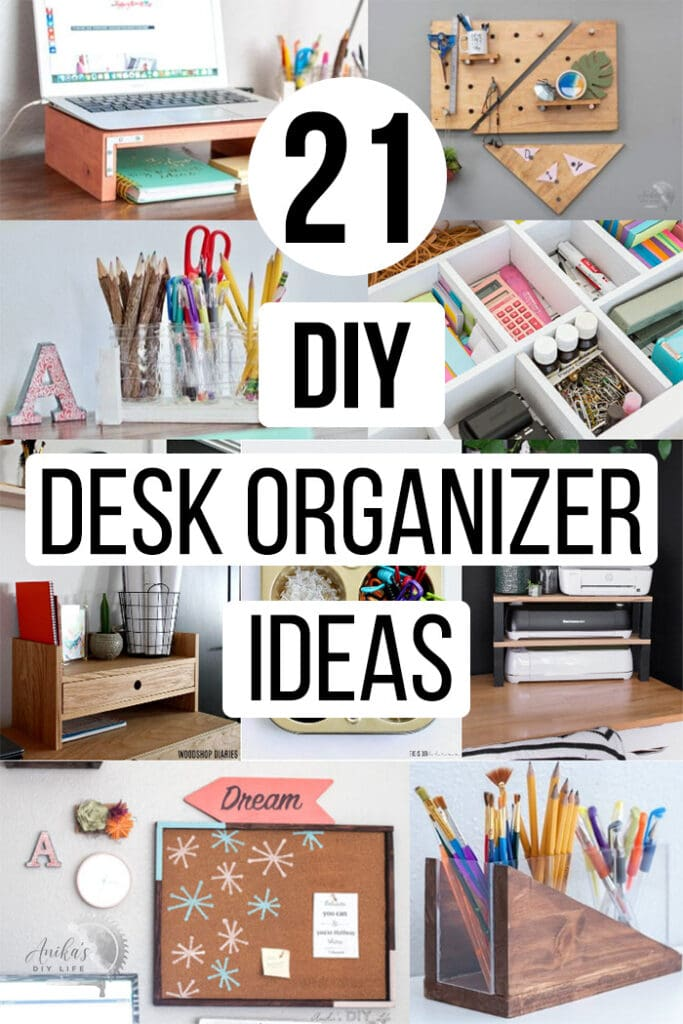 collage of DIY desk organization ideas with text overlay