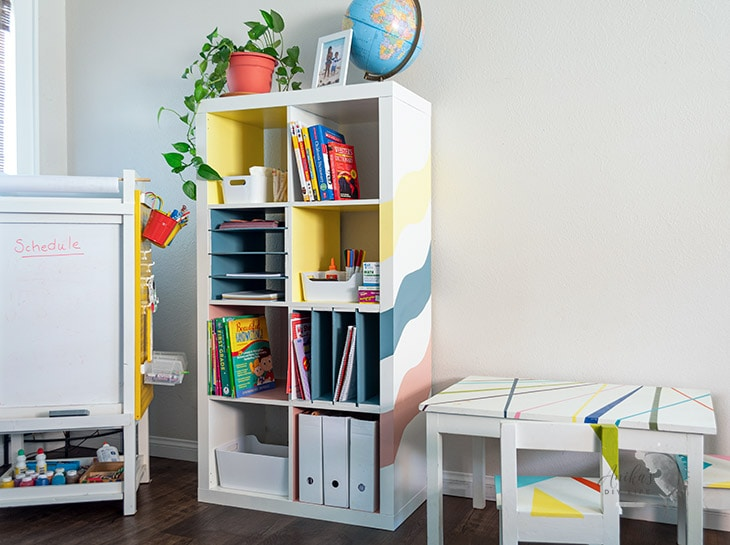 Ikea Kallax shelf hack for using as a school organizer