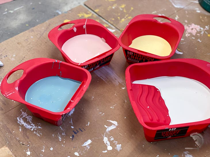 paint colors for Ikea Kallax hack in cups
