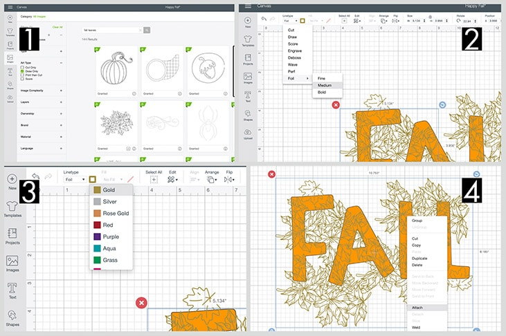 collage of screenshots showing how to set up Cricut Foil Transfer in Design Space