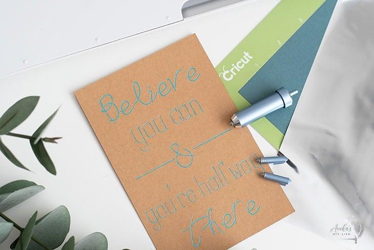 Foil transfer quote on Kraftboard using Cricut