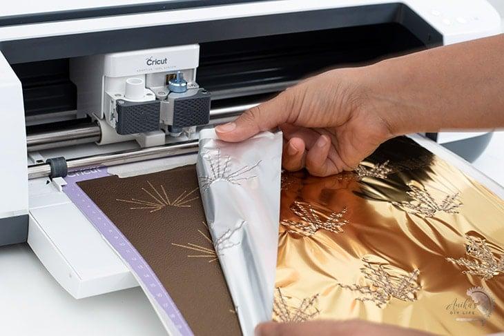 Foil transfer on faux leather using a Cricut