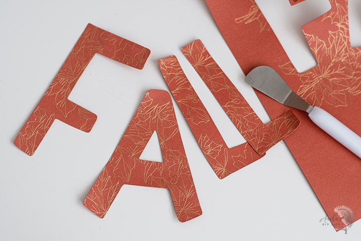 Cut out of FALL letters using the foil transfer and cut options