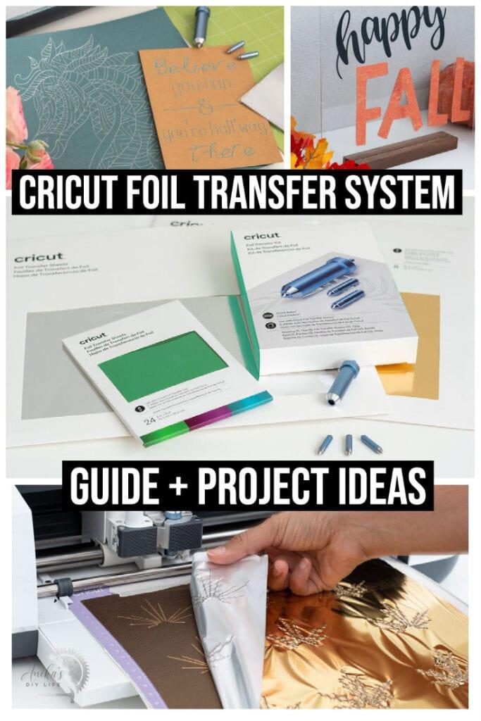 collage of Cricut Foil Transfer tool.