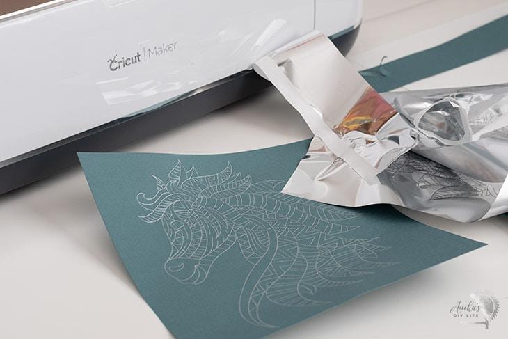 Foil Mandala horse on teal cardstock