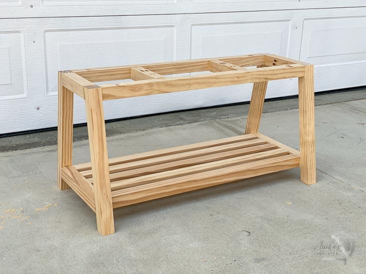 Complete bench frame in garage.