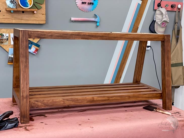 Stained DIY bench in workshop