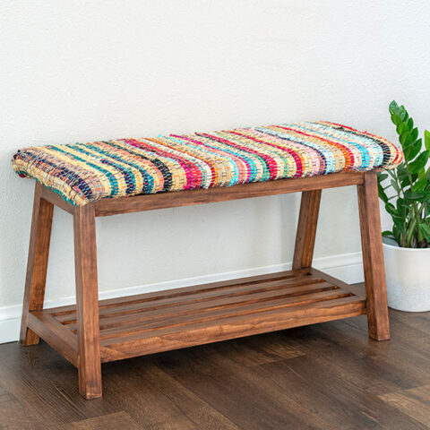 Build a simple yet modern A-frame DIY upholstered bench with shoe storage underneath with easy to follow plans and tutorial!