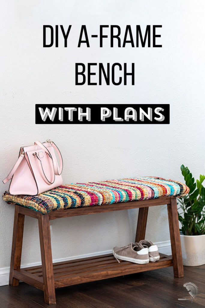 DIY upholstered bench with colorful fabric with text overlay