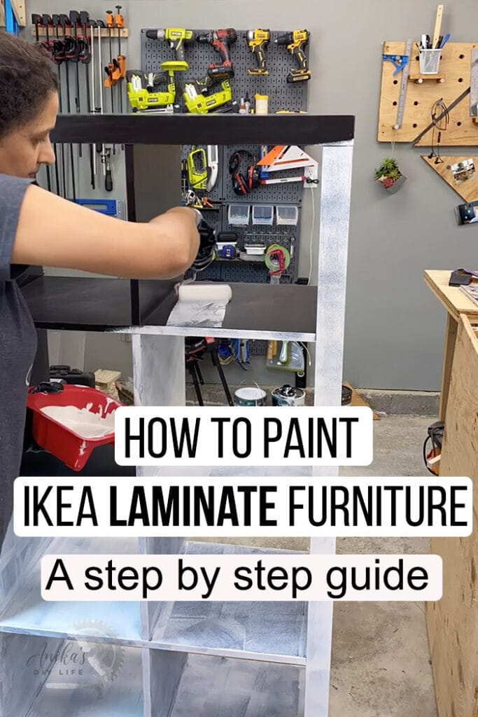 Woman painting Laminate Ikea furniture with text overlay