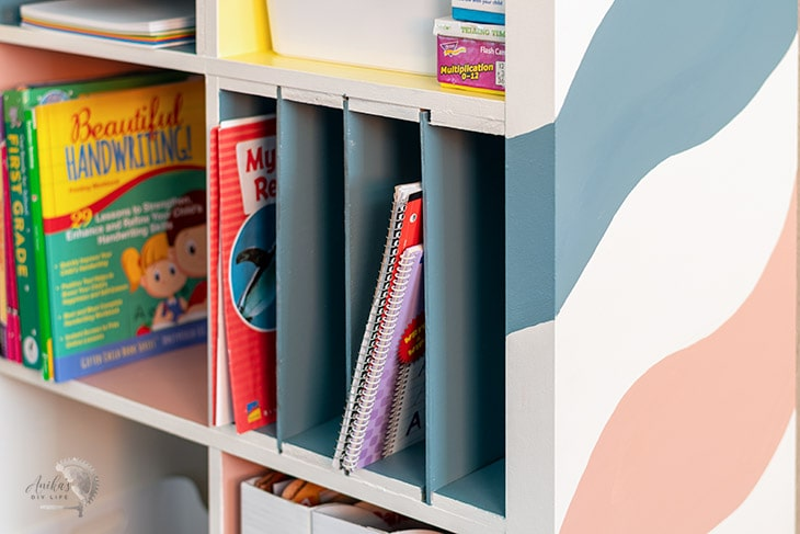 close up of painted laminate bookshelf
