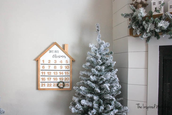 hanging advent calendar made from scrap wood