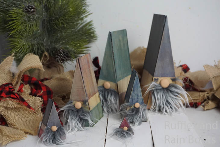 6 gnomes made with scrap wood