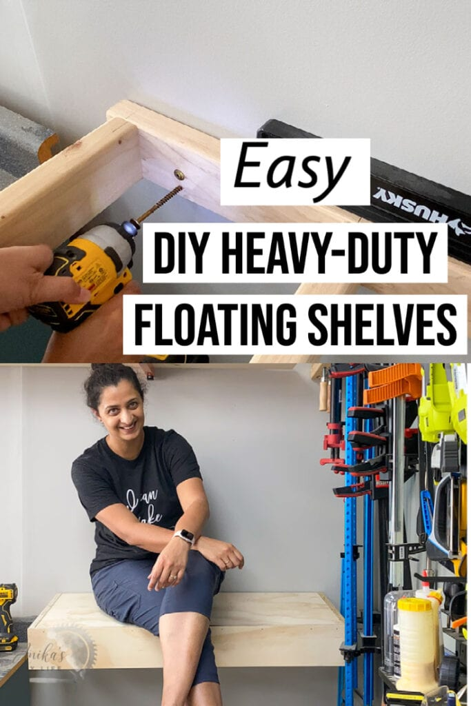 collage of heavy duty DIY floating shelves with text overlay
